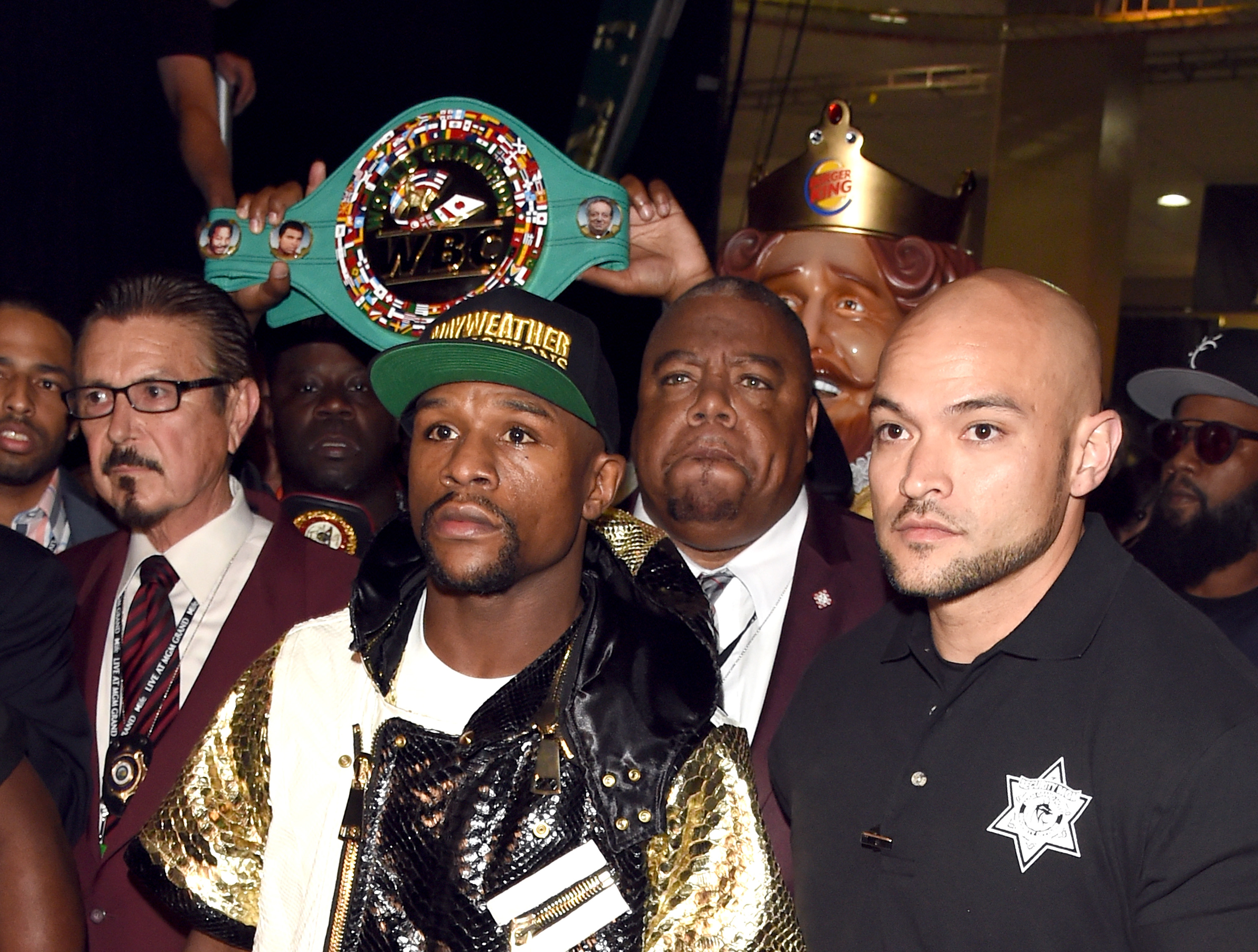 "backstage at ""Mayweather VS Pacquiao"" at MGM Grand Garden Arena on May 2, 2015 in Las Vegas, Nevada."