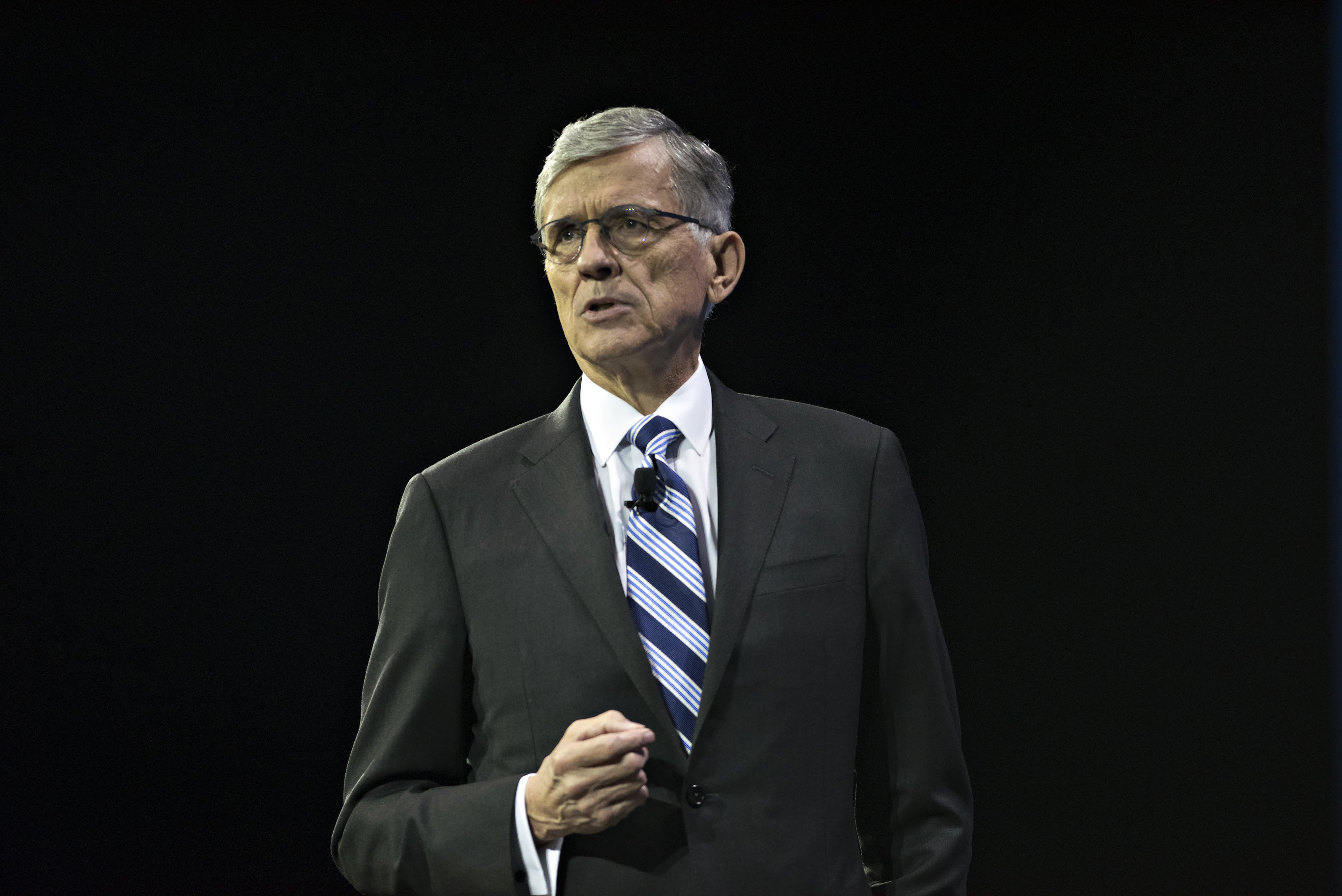 Thomas Wheeler, chairman of the U.S. Federal Communications Commission (FCC), speaks at INTX: The Internet & Television Expo in Chicago, Illinois, U.S., on Wednesday, May 6, 2015. The event, formerly known as the The Cable Show, has been the reimagined for doing business in the digital economy by the National Cable and Telecommunications Association (NCTA). Photographer: Daniel Acker/Bloomberg *** Local Caption *** Thomas Wheeler