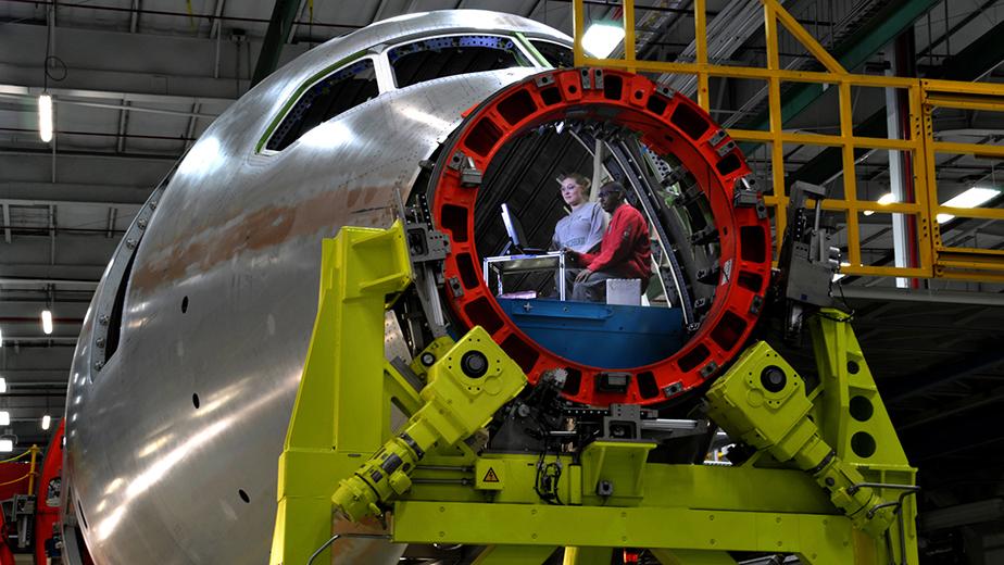 787 composite forward fuselage production in Wichita, Kansas.