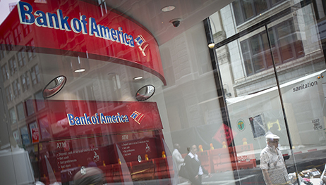 A Bank Of America ATM is pictured in the Manhattan borough of New York