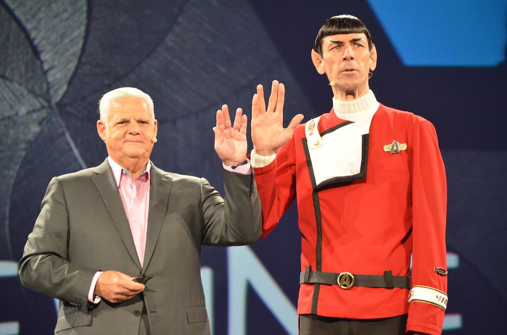 "EMC CEO Joe Tucci on stage with ""Mr. Spock"" at EMC World 2015."