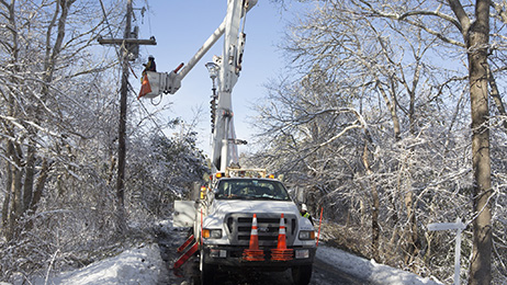 Eversource crew restoring power during restoration work on Cape Cod.