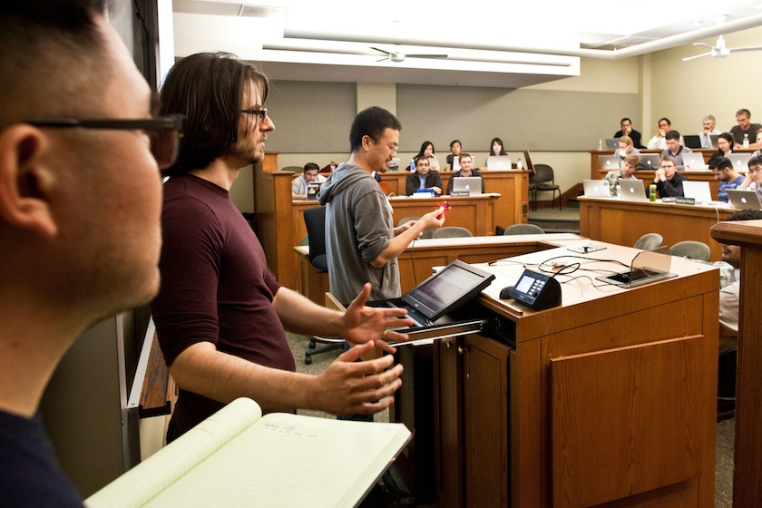 Students present on their progress in Steve Blank's Lean LaunchPad class at U.C. Berkeley Haas School of Business