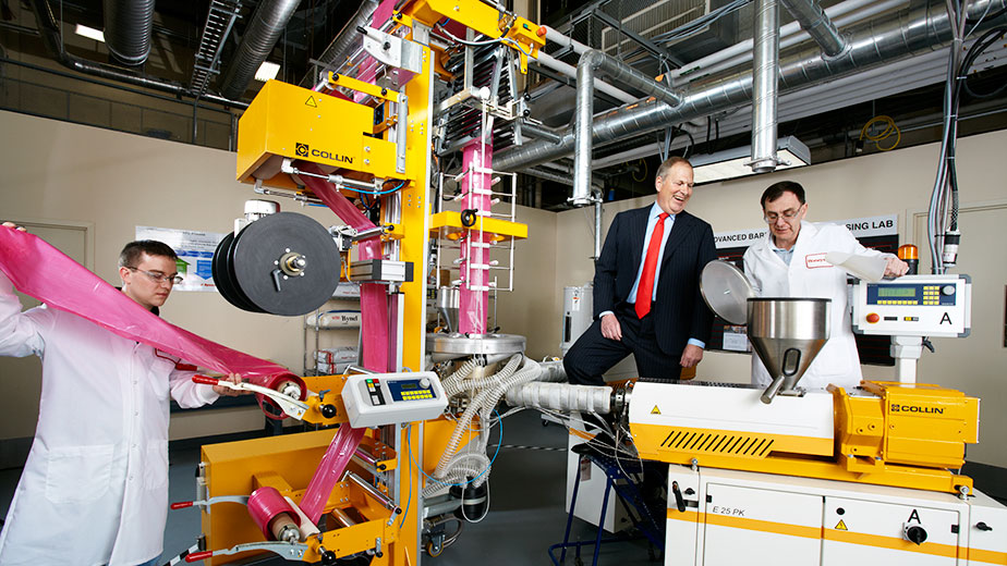 A New Jersey lab where Honeywell is developing a new nylon co-polymer that can be used in food packaging.
