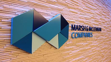 Marsh & McLennan logo in their New York offices.