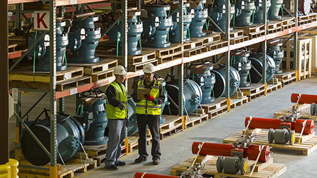 A sample of the valve and valve automation products in stock at MRC Global's Houston, TX Valve Distribution Center.