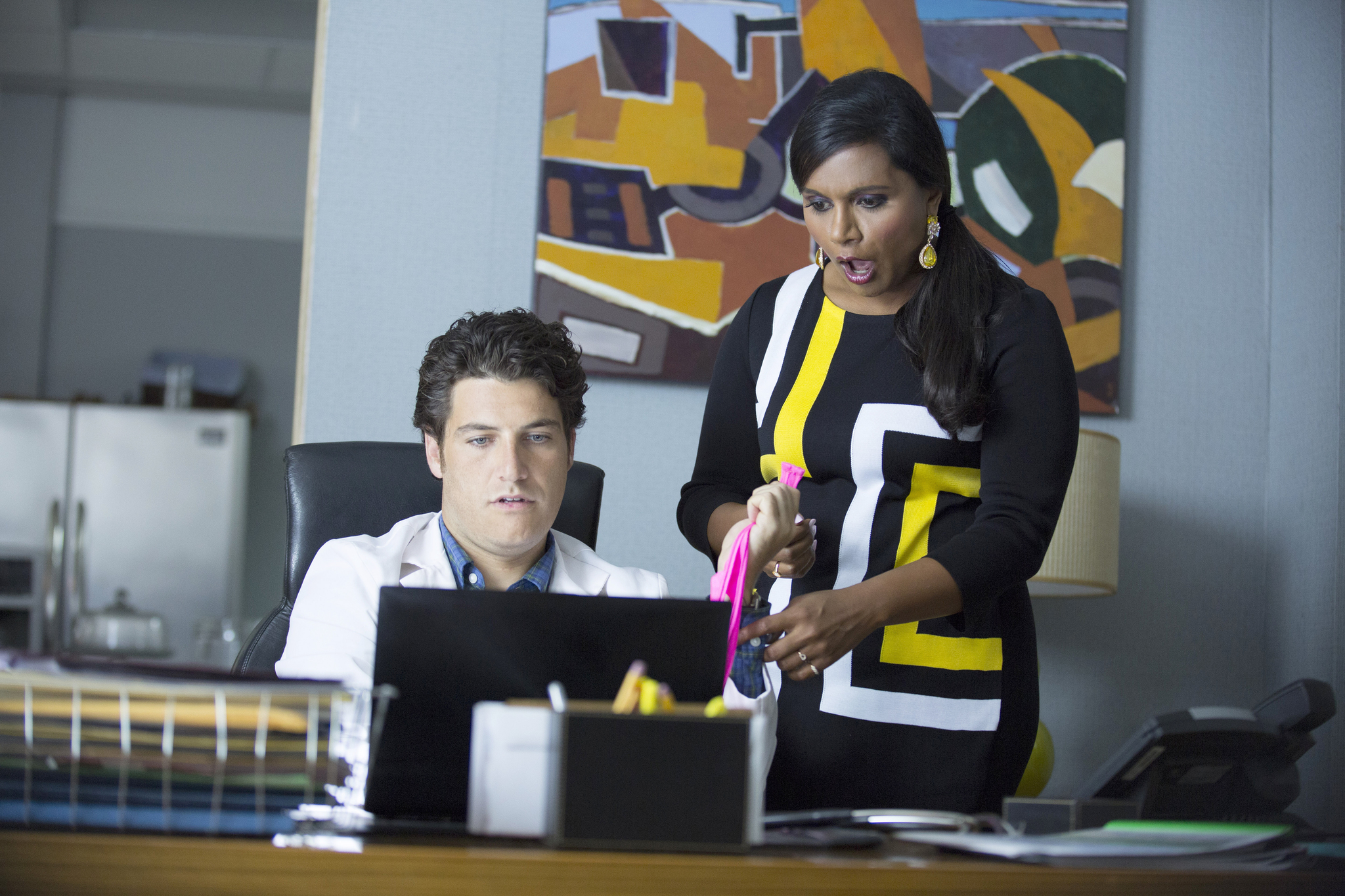 "THE MINDY PROJECT:  Mindy (Mindy Kaling, R) and Peter (Adam Pally, L) make a shocking discovery in the ""We're A Couple Now, Haters"" season premiere episode of THE MINDY PROJECT airing Tuesday, Sept. 16 (9:30-10:00 PM ET/PT) on FOX.  ©2014 Fox Broadcasting Co.  Cr:  Isabella Vosmikova/FOX"