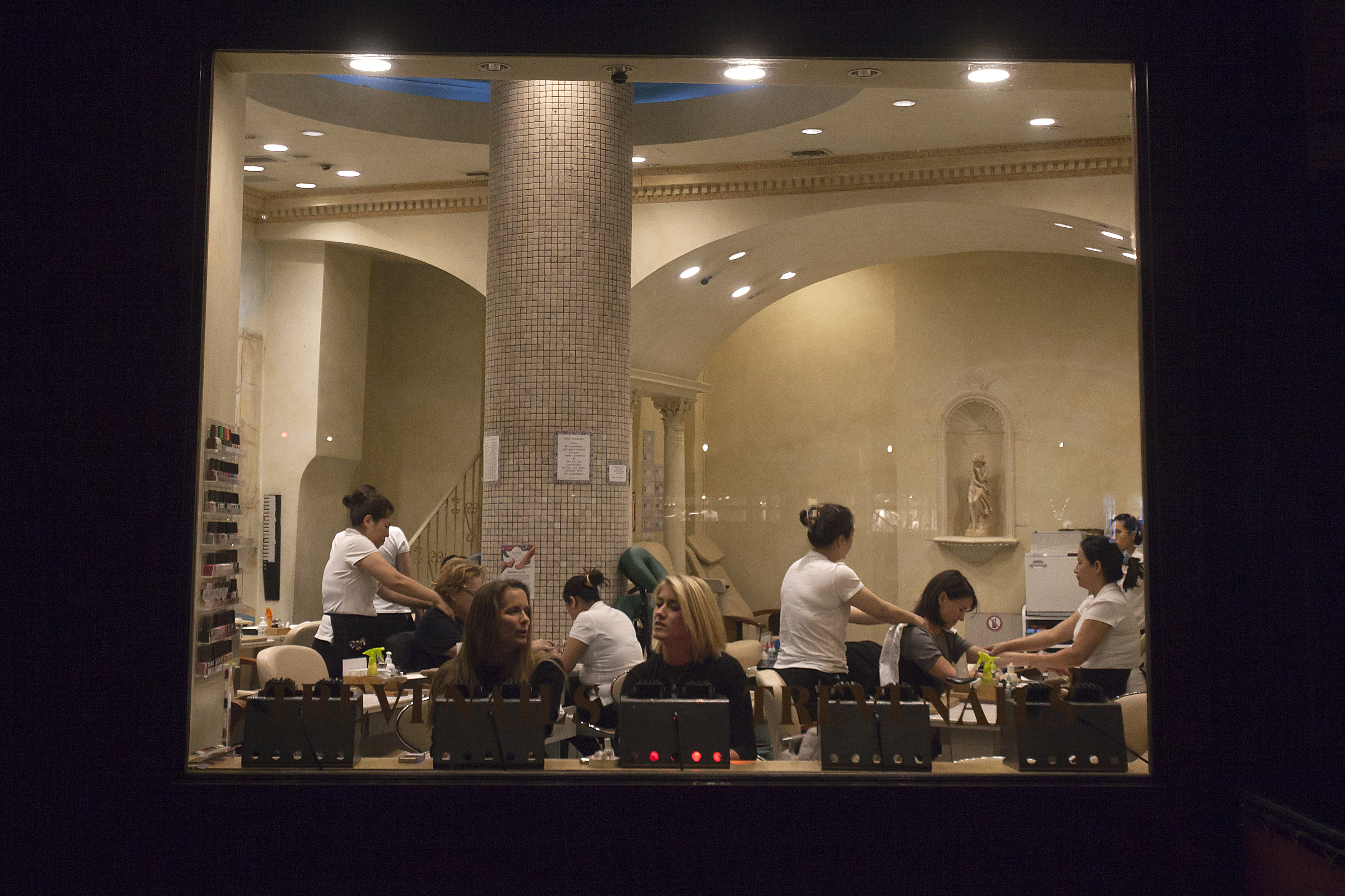 Women at a nail salon on the Upper West Side of New York