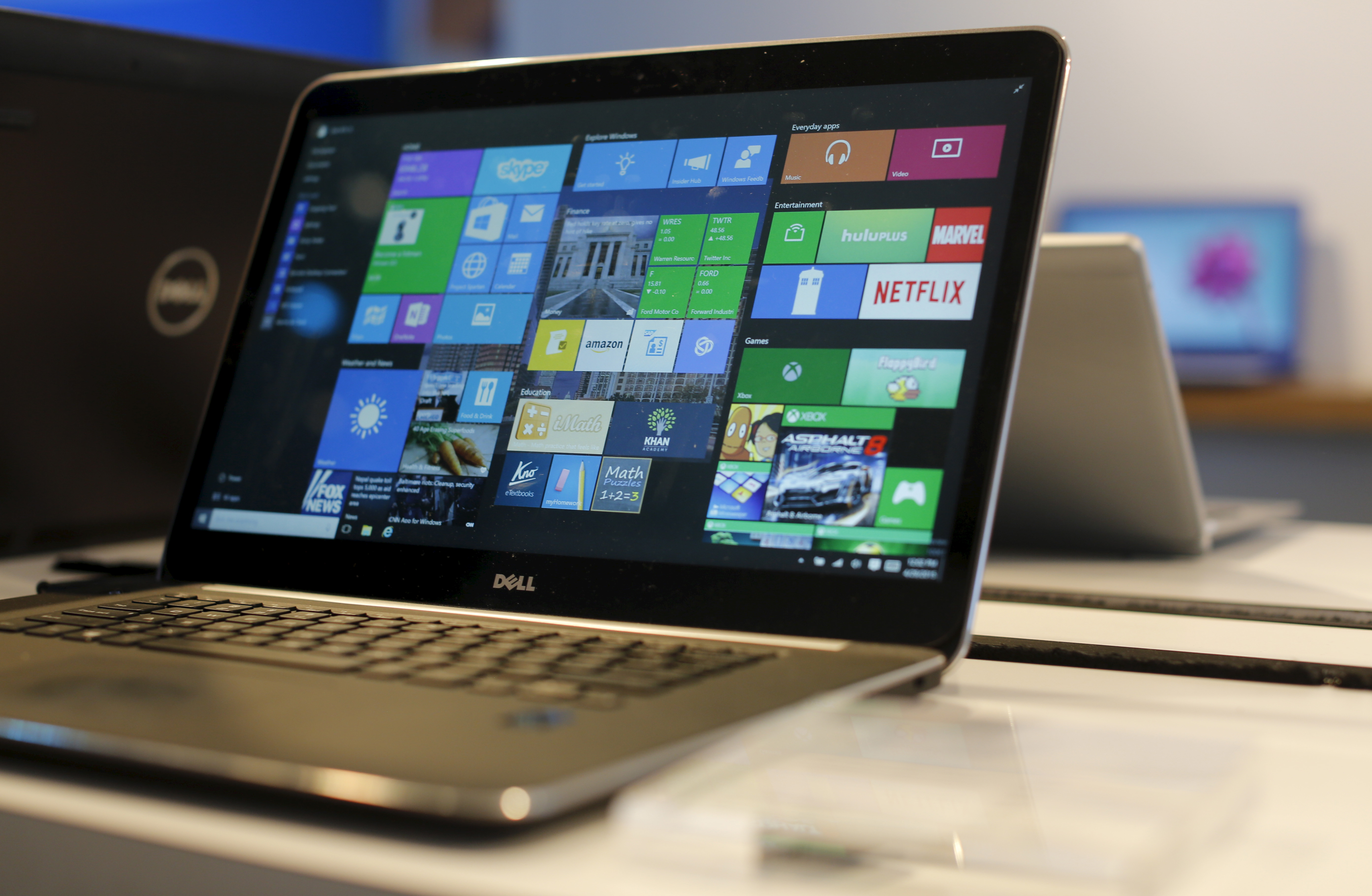 A laptop computer featuring Windows 10 is seen on display at Microsoft Build in San Francisco