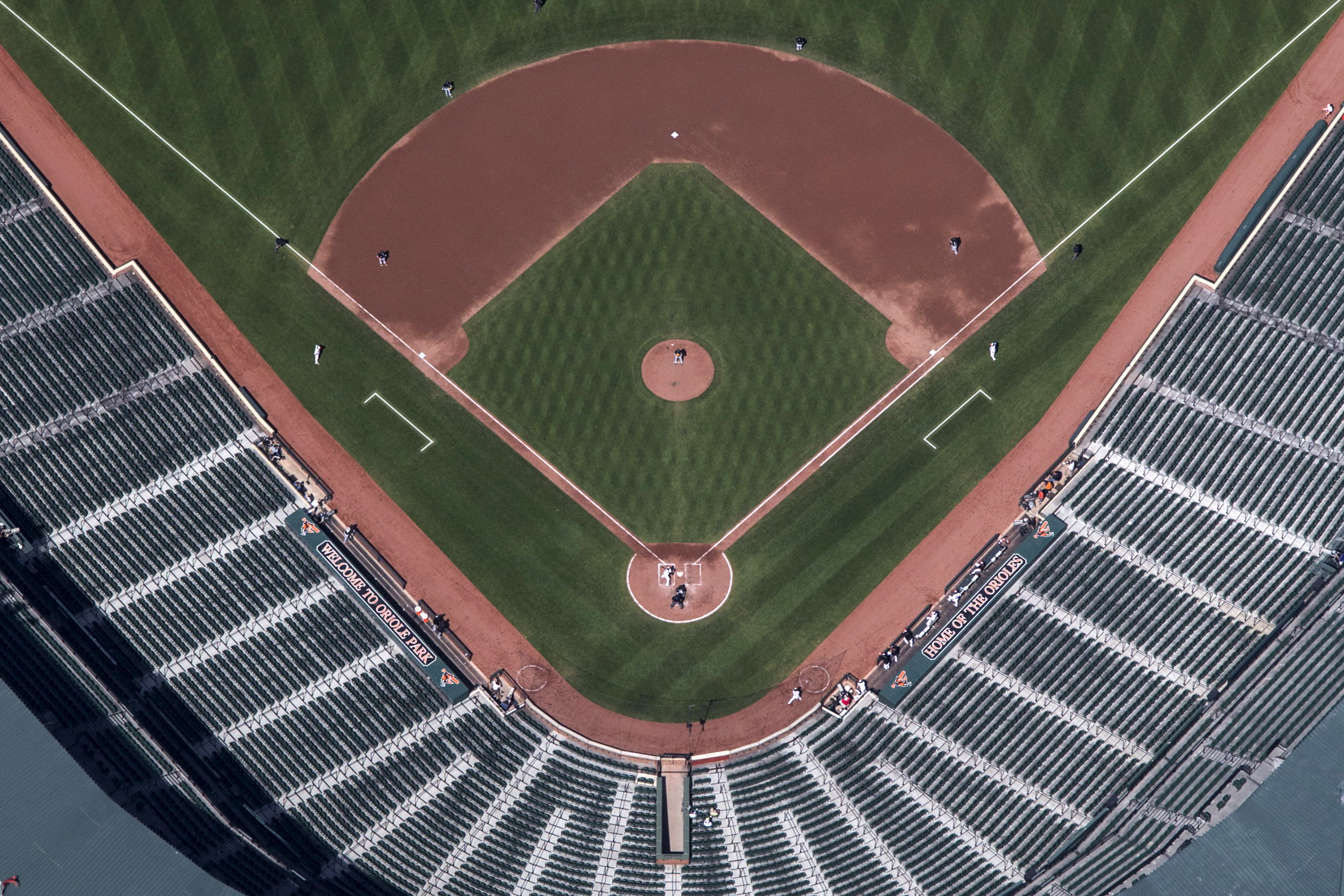 Camden Yards ballpark is seen without fans in this aerial image as Orioles take the bat against the White Sox in Baltimore