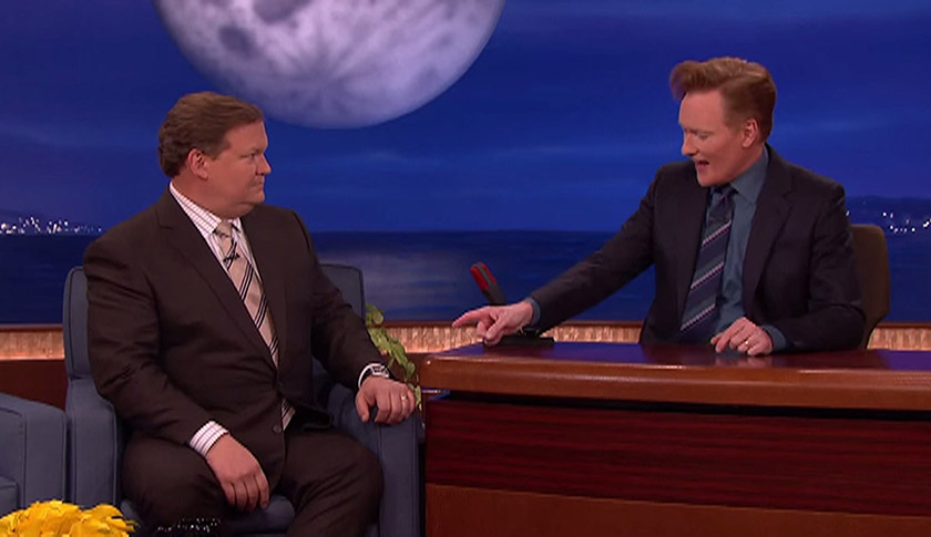 Andy Richter and O'Brien having fun with a fake Watch