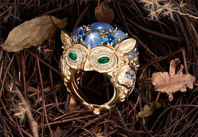 Temple St. Clair Great Horned Owl ring