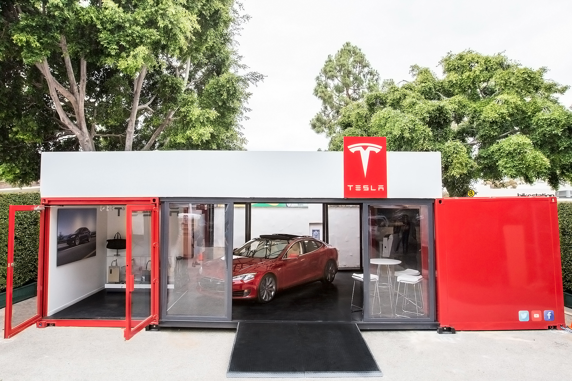 Tesla's mobile shipping container store will debut in Santa Barbara, Calif. over the Memorial Day weekend.