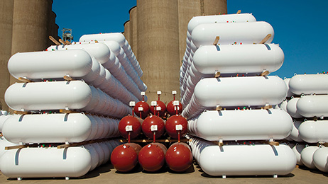 LPG tanks manufactured and stored at Trinity's Quincy, Illinois manufacturing facility.