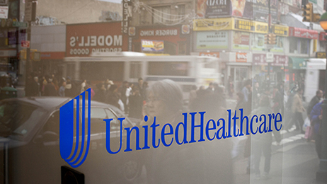 UnitedHealthcare's sign outside a store in Queens, New York.