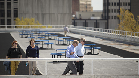 Unum employees take a break during work to walk on a rooftop track at the company's Chattanooga headquarters.