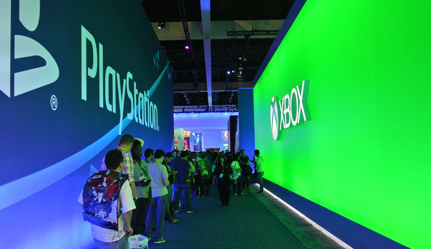 Sony and Microsoft booths at E3 2015
