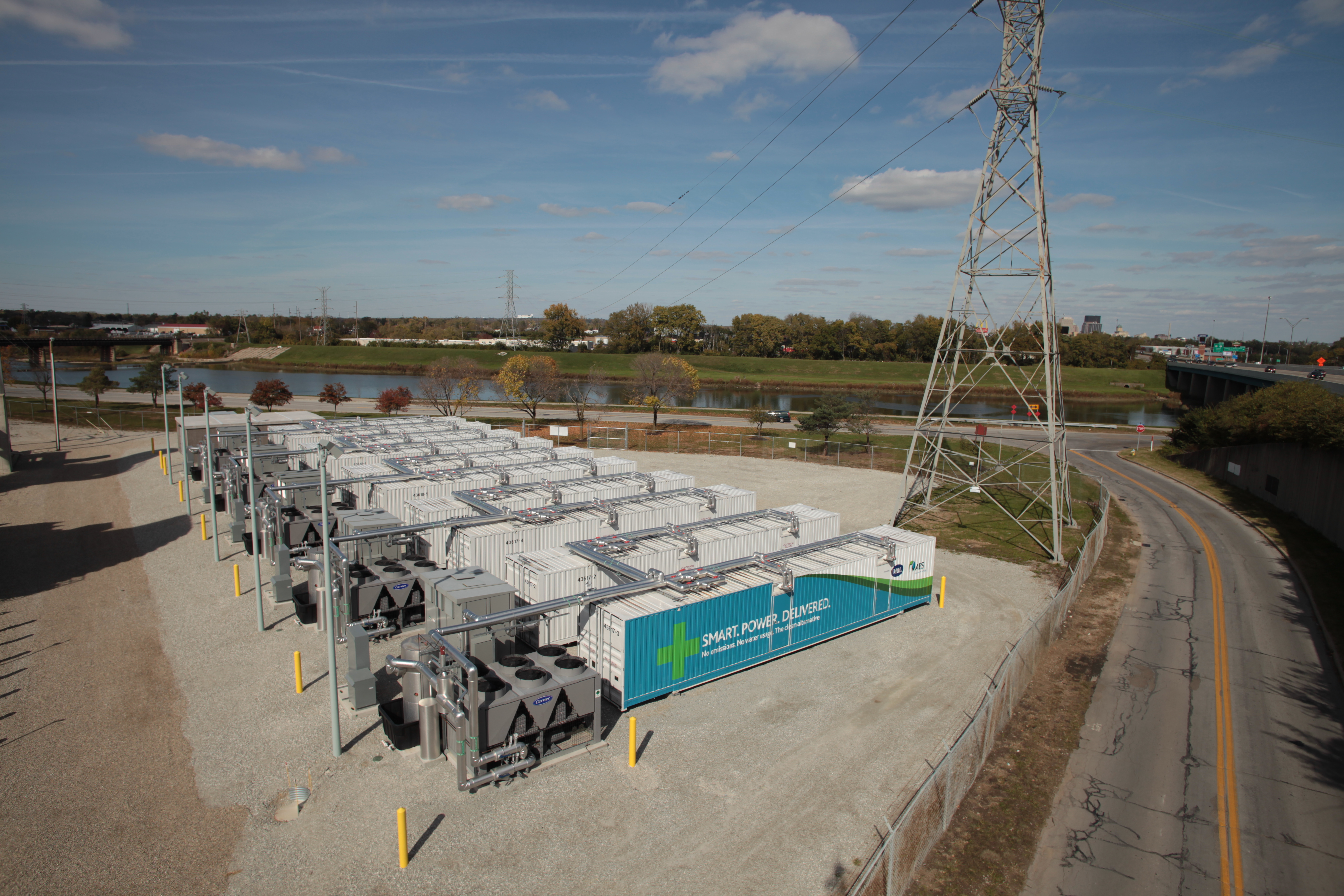 A 40 MW battery farm  at Dayton Power and Light's (DP&L) Tait generating station, just south of Dayton, Ohio, built by AES Energy Storage.