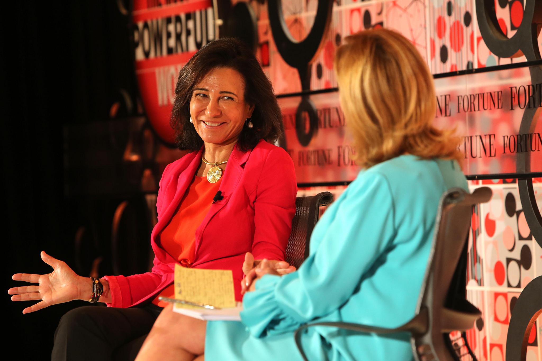 Ana Botin, group executive chairman of Banco Santander, (left) talks with Fortune's Nina Easton.