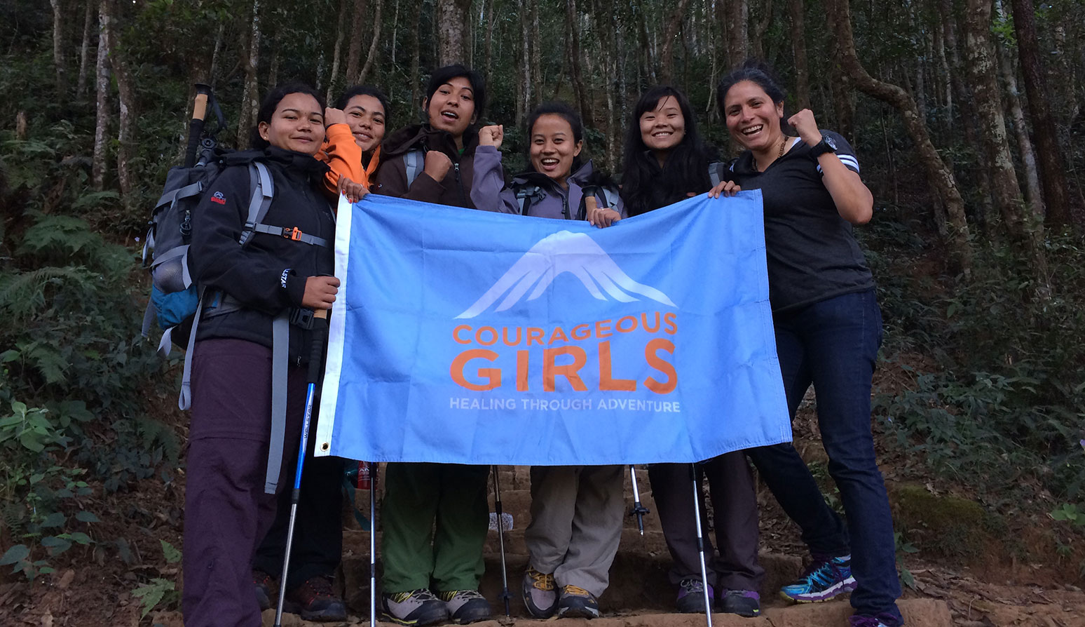 Silvia Vasquez-Lavado, far right, stands with a group of Nepalese women after their first hike together.