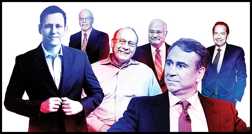 L to R: Peter Thiel, Paul Singer, Frank VanderSloot, Joe Ricketts, Ken Griffin, John Paulson