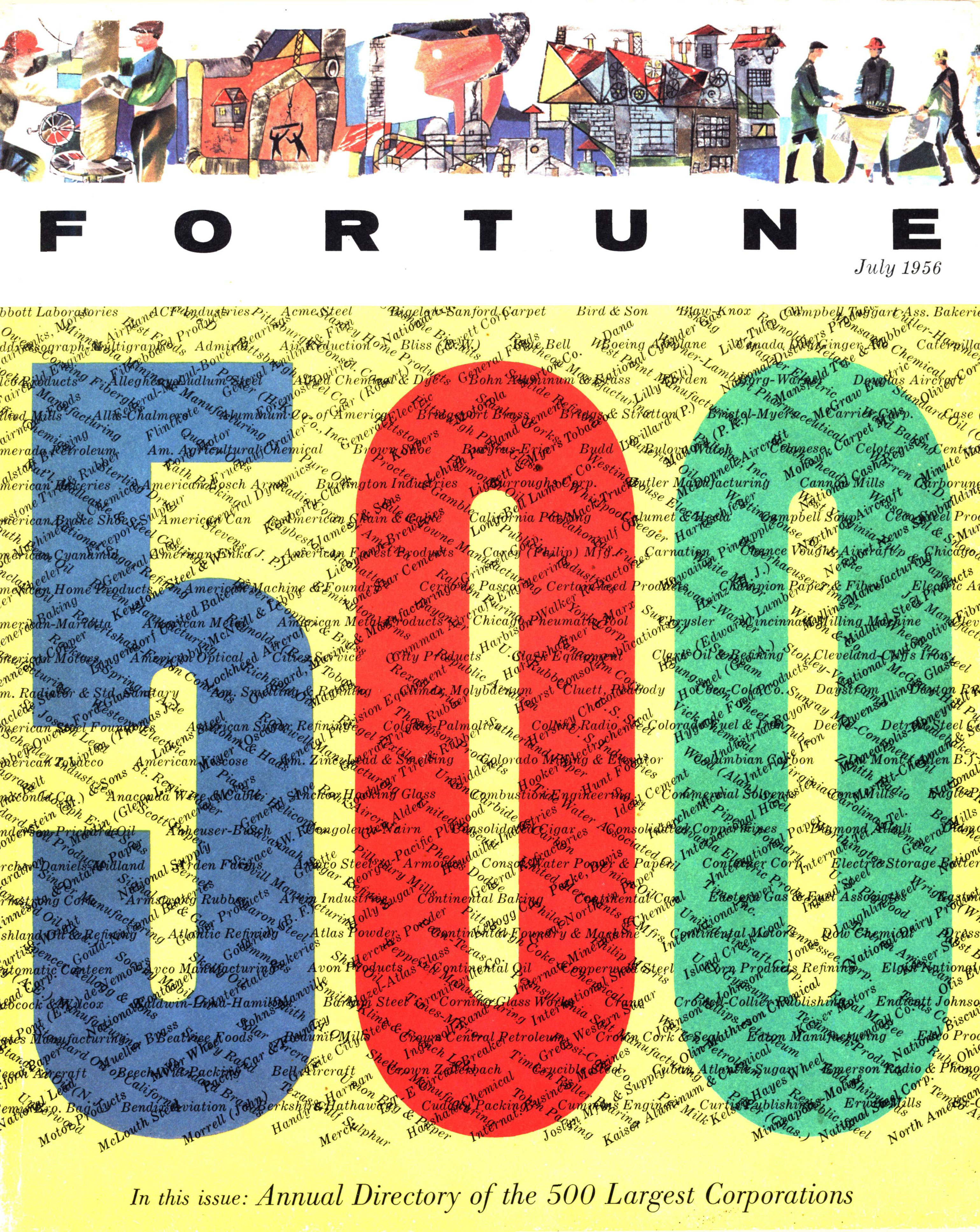 The first Fortune 500 cover in July of 1956.