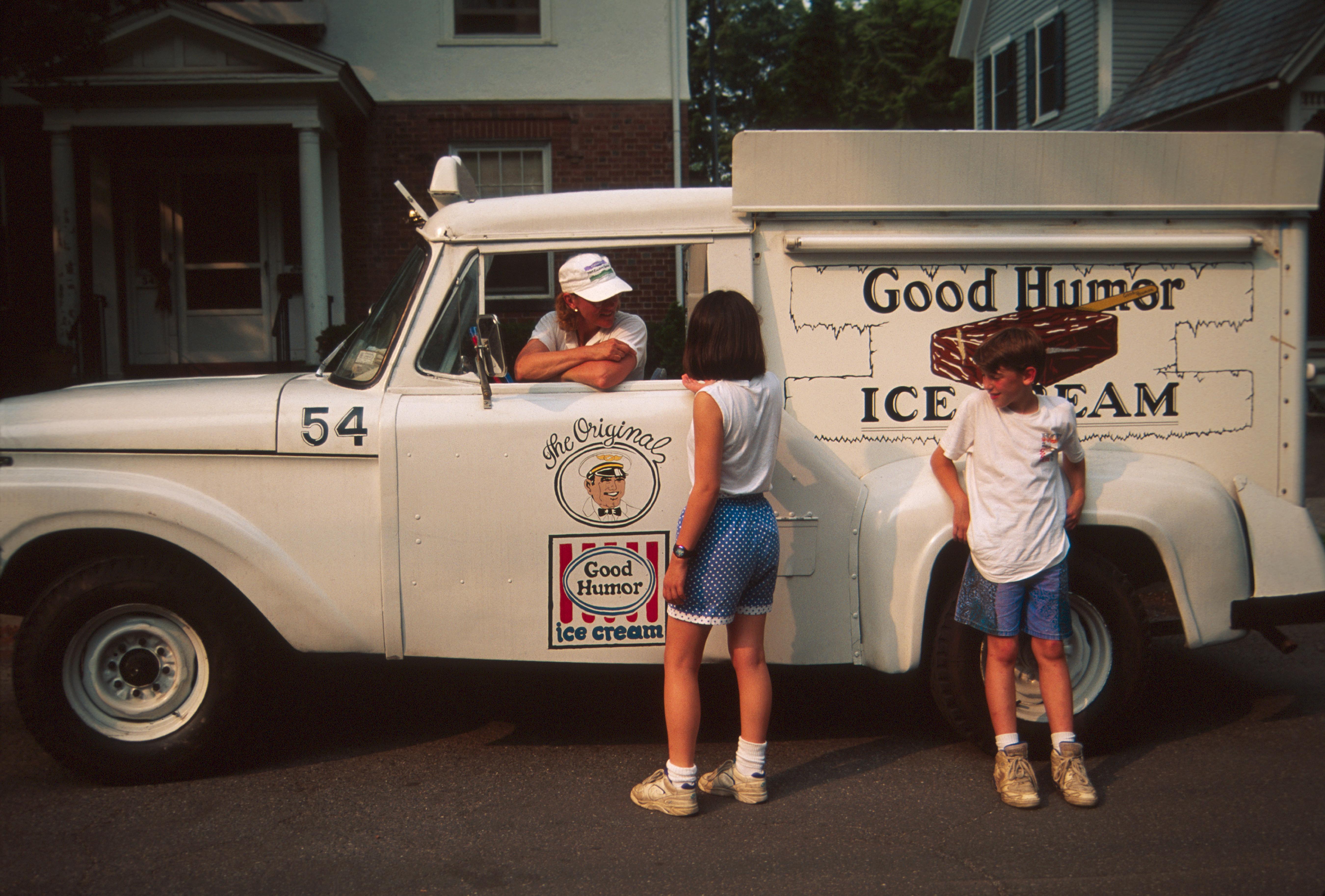 Good Humor Ice Cream Truck, Customers Talking To Driver.