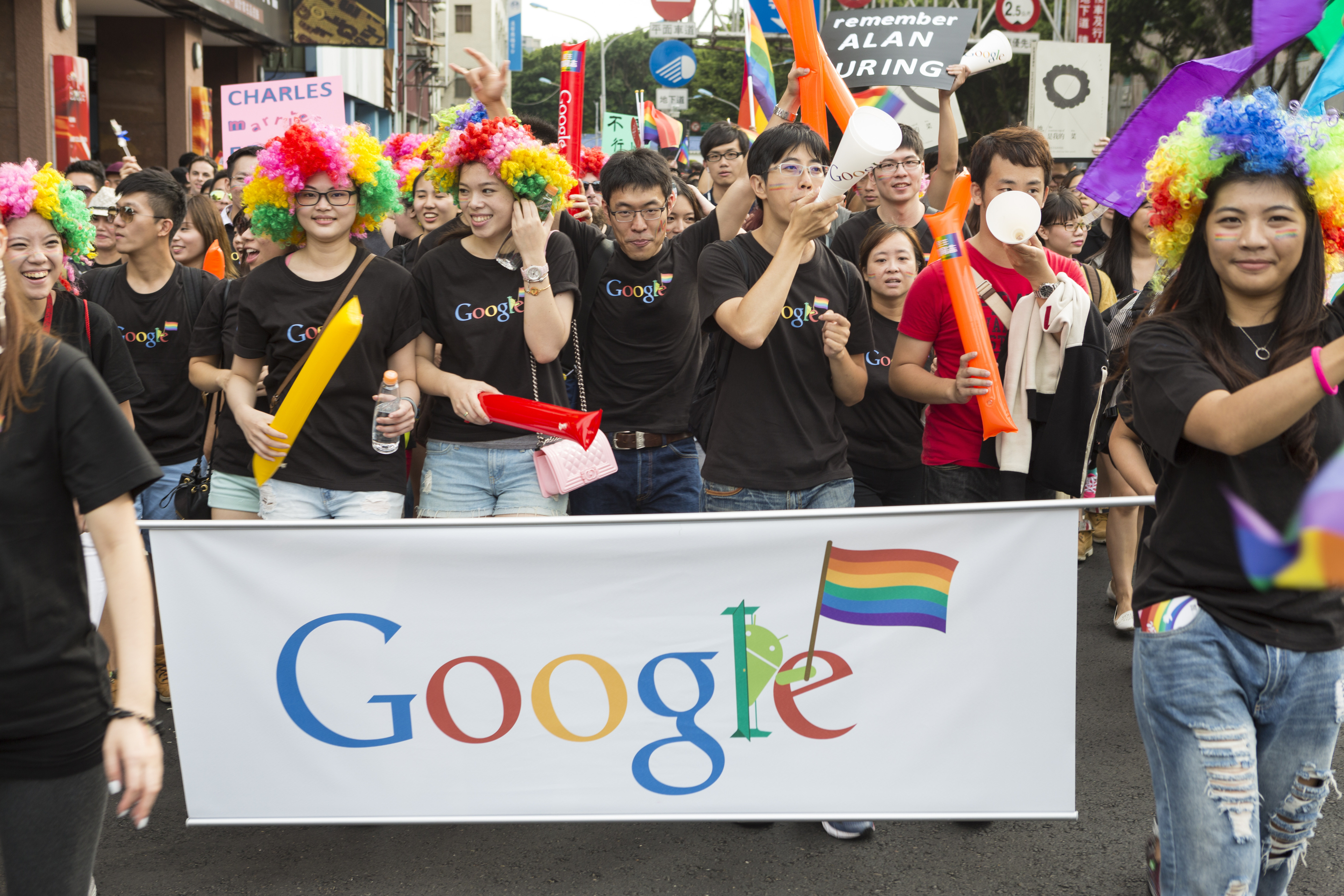 Google staff take part in the 2014 gay pride march. The