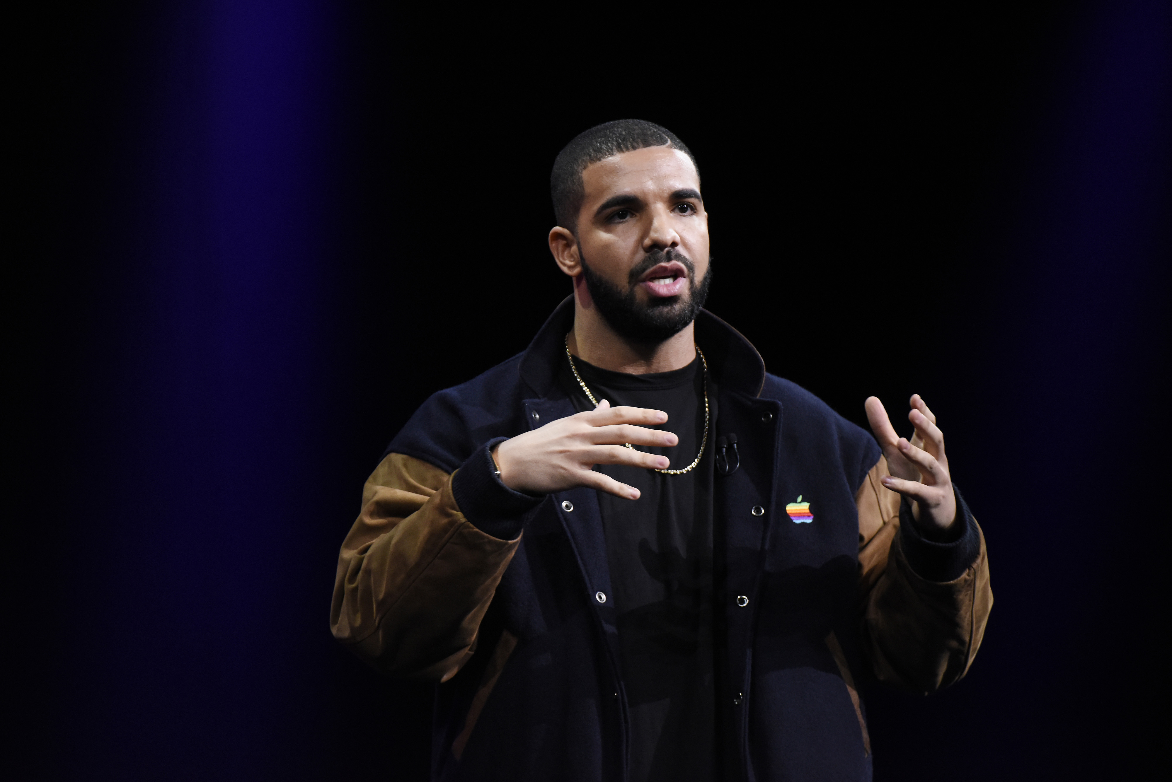 Entertainer Aubrey Drake Graham known as Drake speaks during the Apple World Wide Developers Conference (WWDC) in San Francisco, California, U.S., on Monday, June 8, 2015. Apple Inc., the maker of iPhones and iPads, will introduce software improvements for its computer and mobile devices as well as reveal new updates, including the introduction of a revamped streaming music service. Photographer: David Paul Morris/Bloomberg *** Local Caption *** Drake