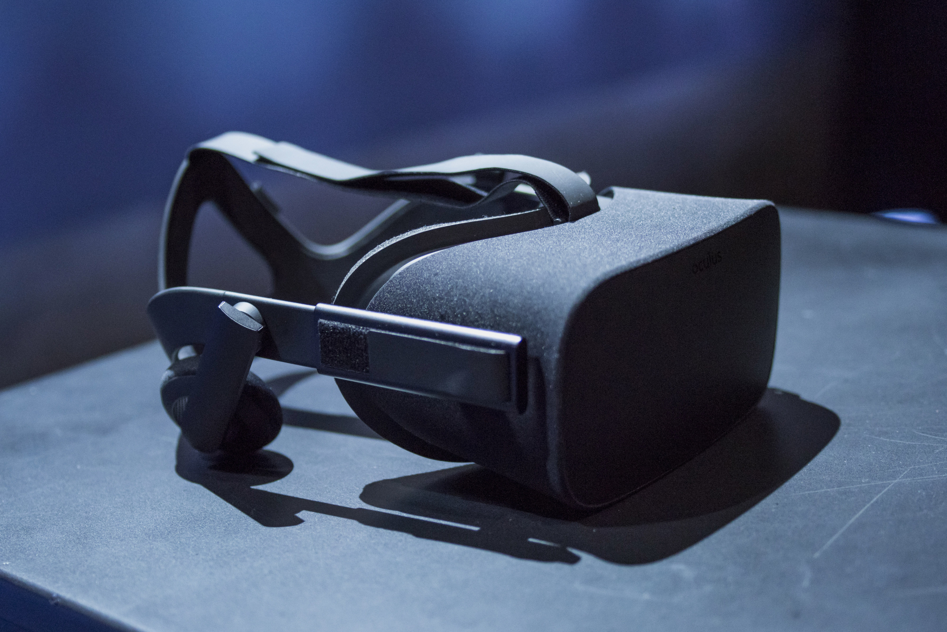 "The Oculus Rift is arranged for a photograph during the Oculus VR Inc. ""Step Into The Rift"" event in San Francisco,   California, U.S., on Thursday, June 11, 2015. Facebook Inc.'s Oculus virtual-reality headsets will work with Microsoft Corp.'s Windows 10 and use the software maker's wireless Xbox game controller. Photographer: David Paul Morris/Bloomberg  *** Local Caption *** Palmer Luckey"