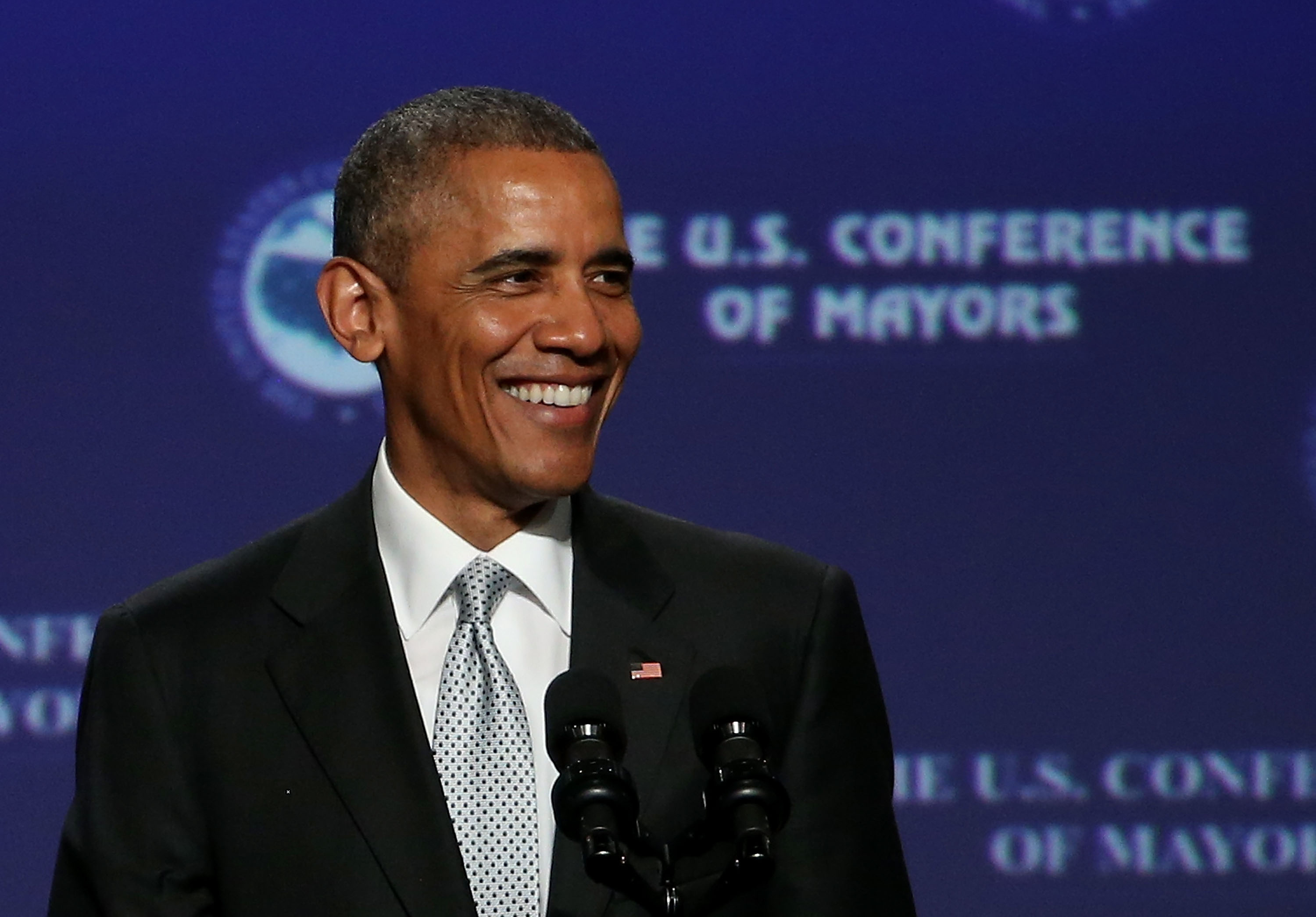 Obama Addresses US Conference Of Mayors Meeting In San Francisco