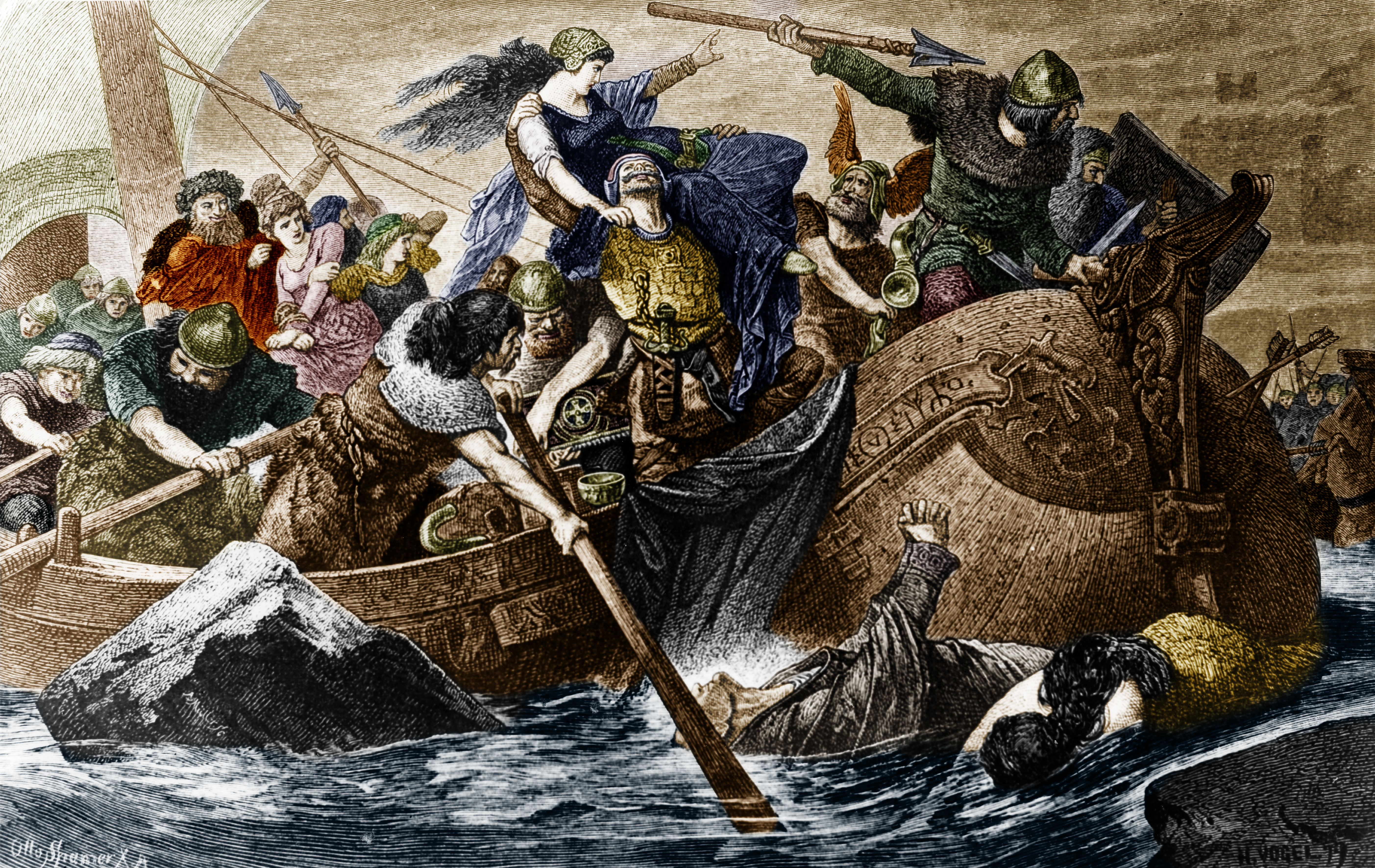 Vikings or Normanns landing at a beach before a raid Digitally colorized. Original: image no 00017140 - no date (cir. 800)