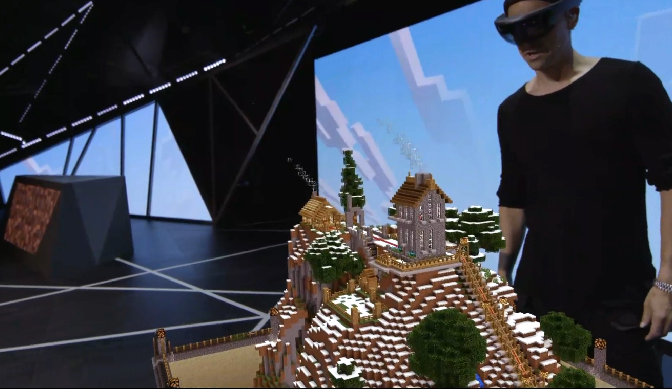 Microsoft and Mojang are working on a HoloLens version of the bestselling Minecraft game