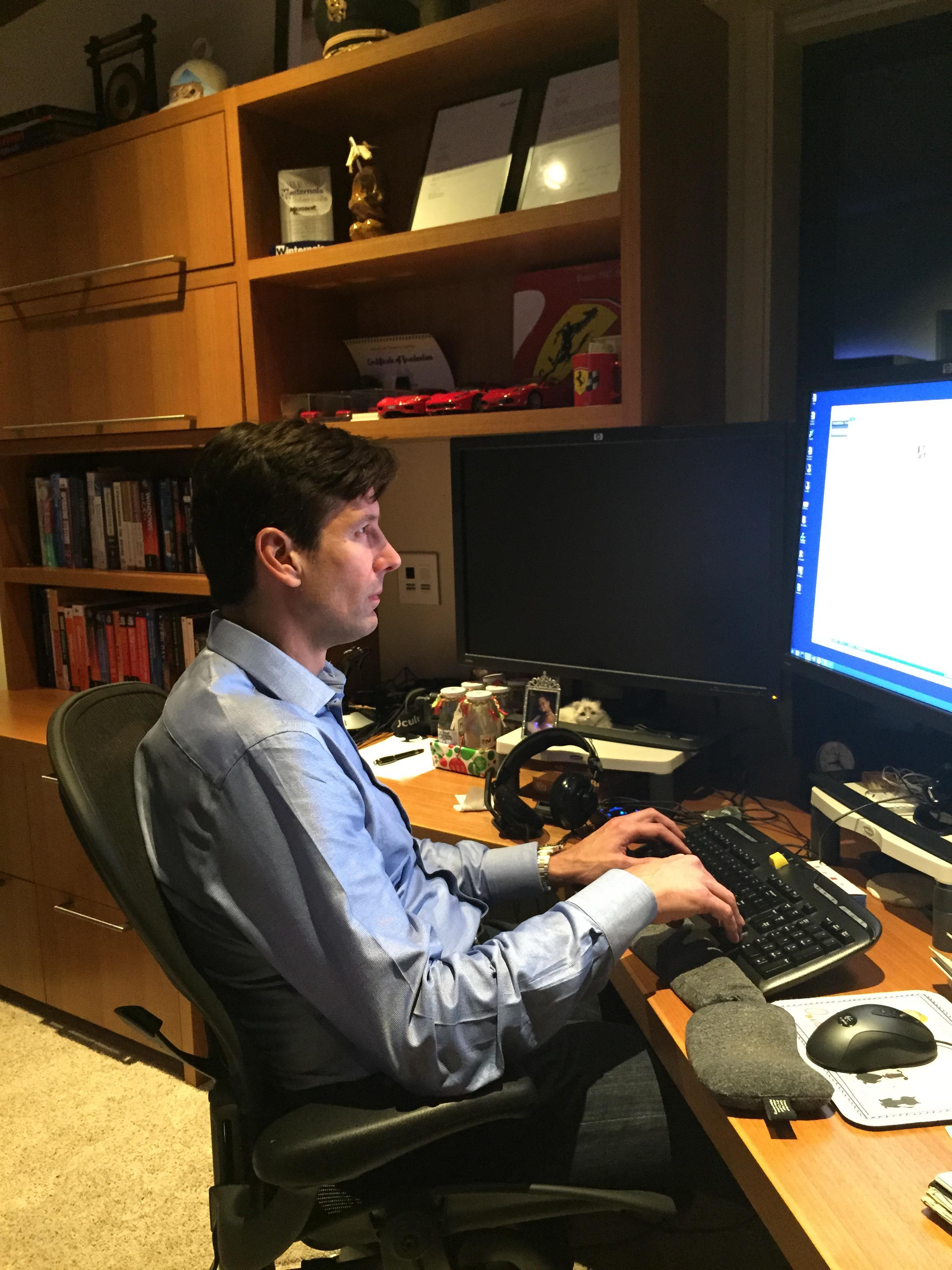 Microsoft CTO Mark Russinovich at his home office.