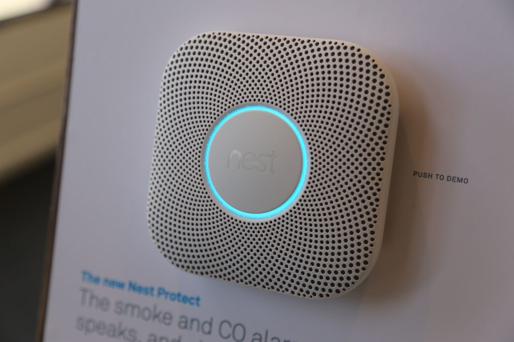 Nest's second generation Nest Protect, connected smoke alarm.