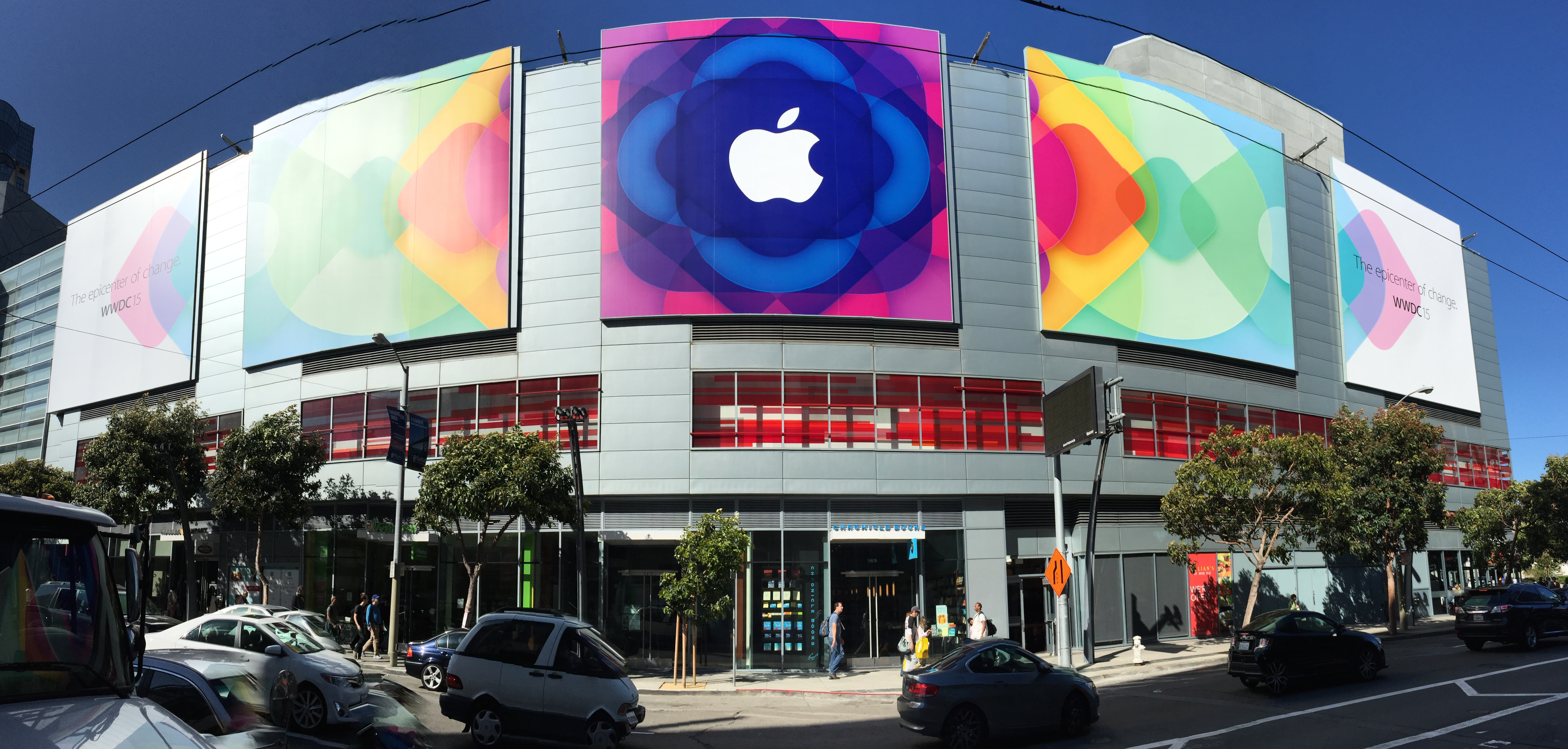 WWDC signage on the Metreon building.