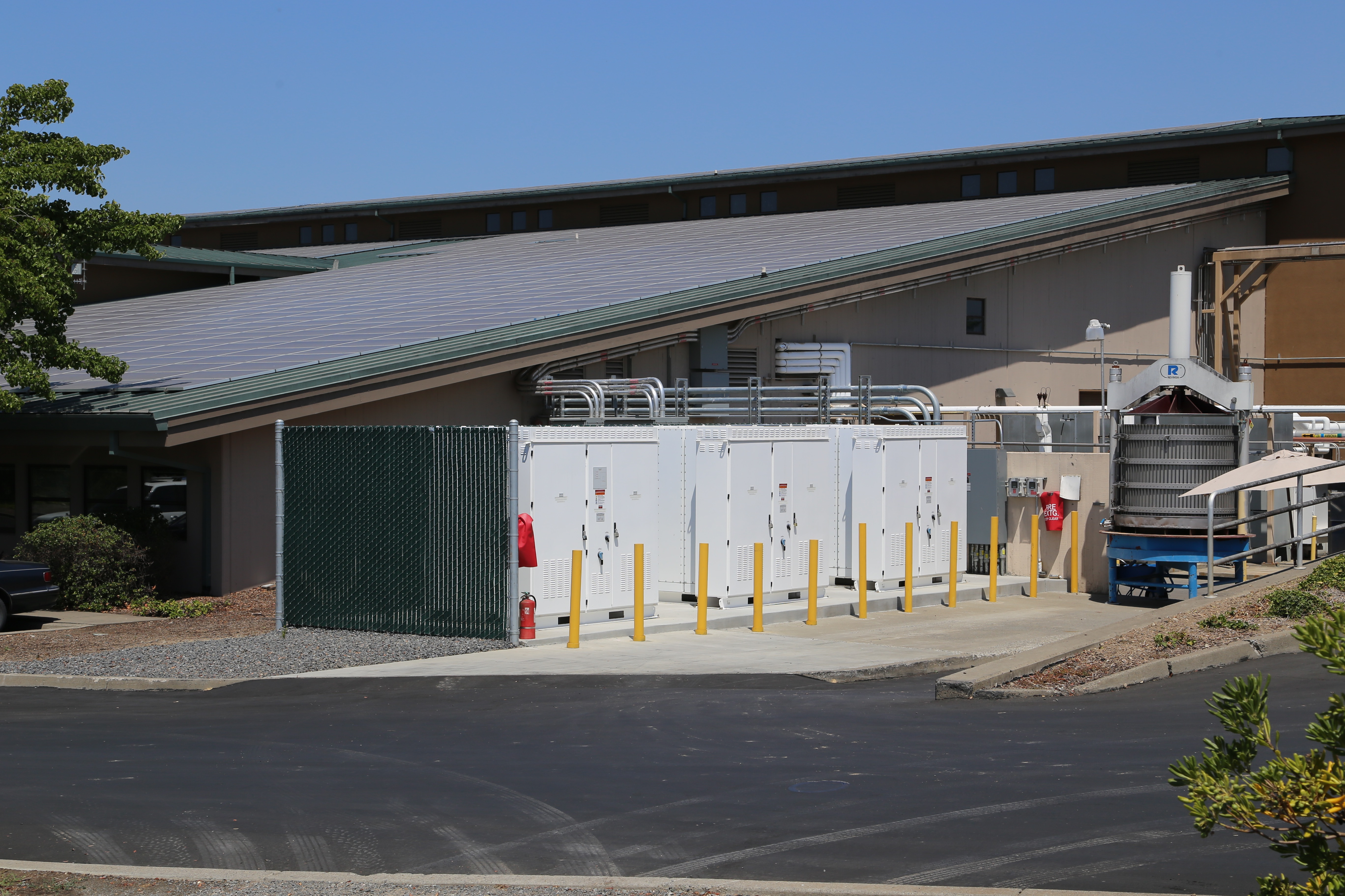 Tesla batteries installed at the La Crema Winery in Windsor, Calif. The roof is also covered in solar panels.