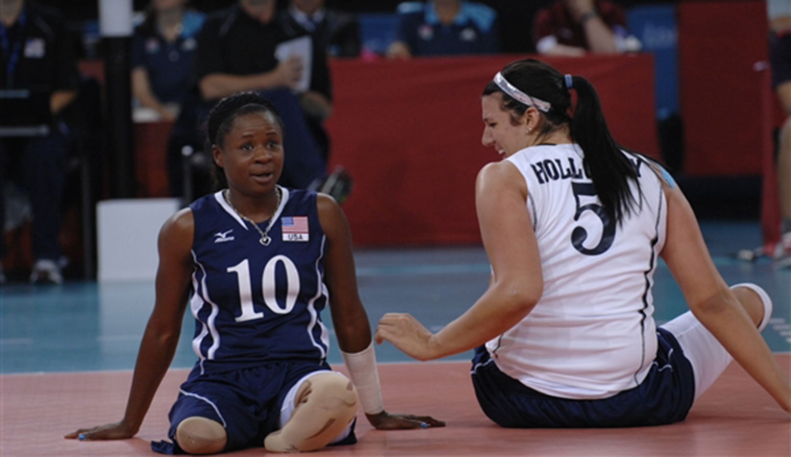 Kari Miller, left, and her teammate Katie Holloway, during their match against China at the 2012 London Paralympic Games.