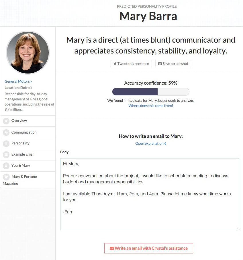 Mary Barra Crystal profile