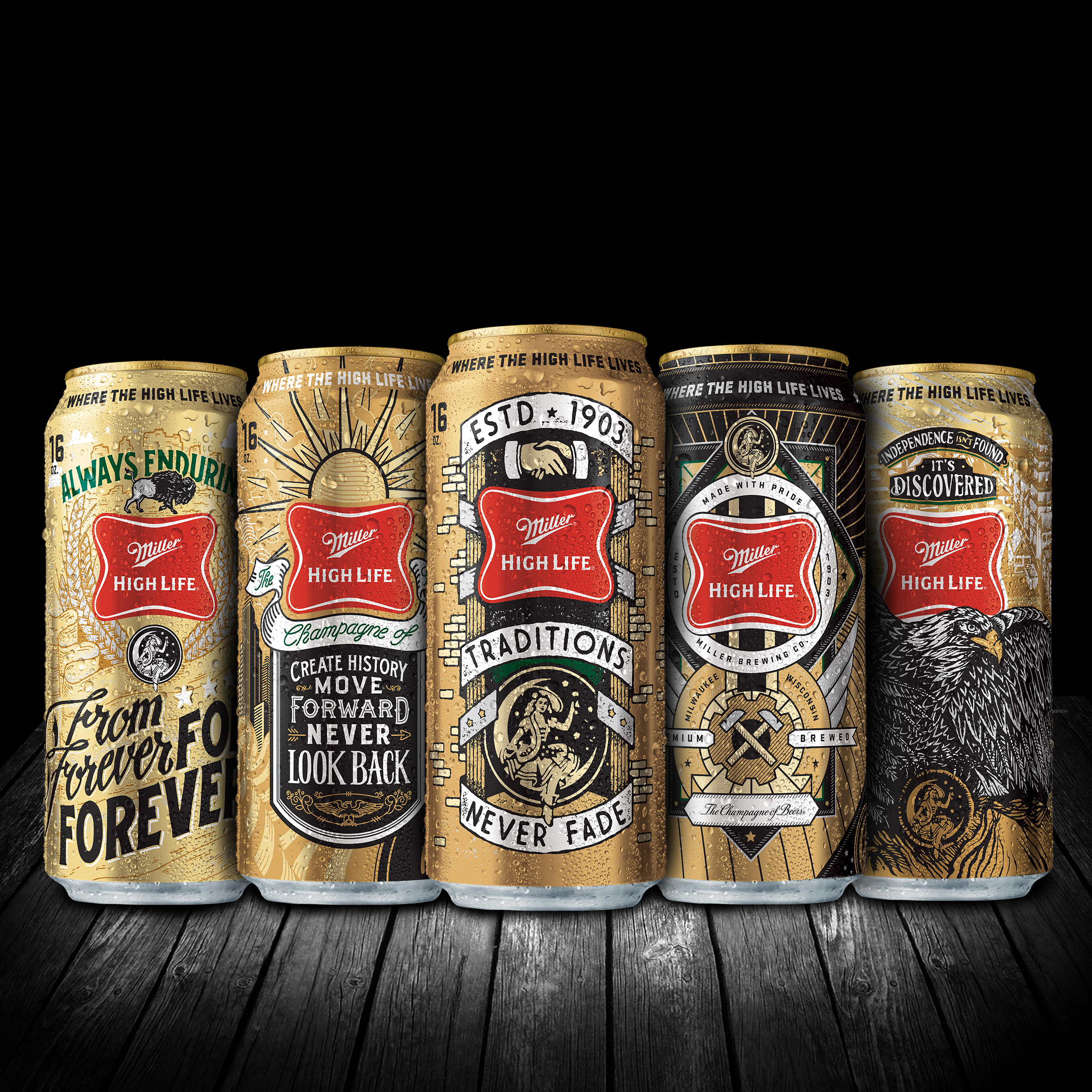 Some of the new Miller High Life cans hitting shelves this summer.