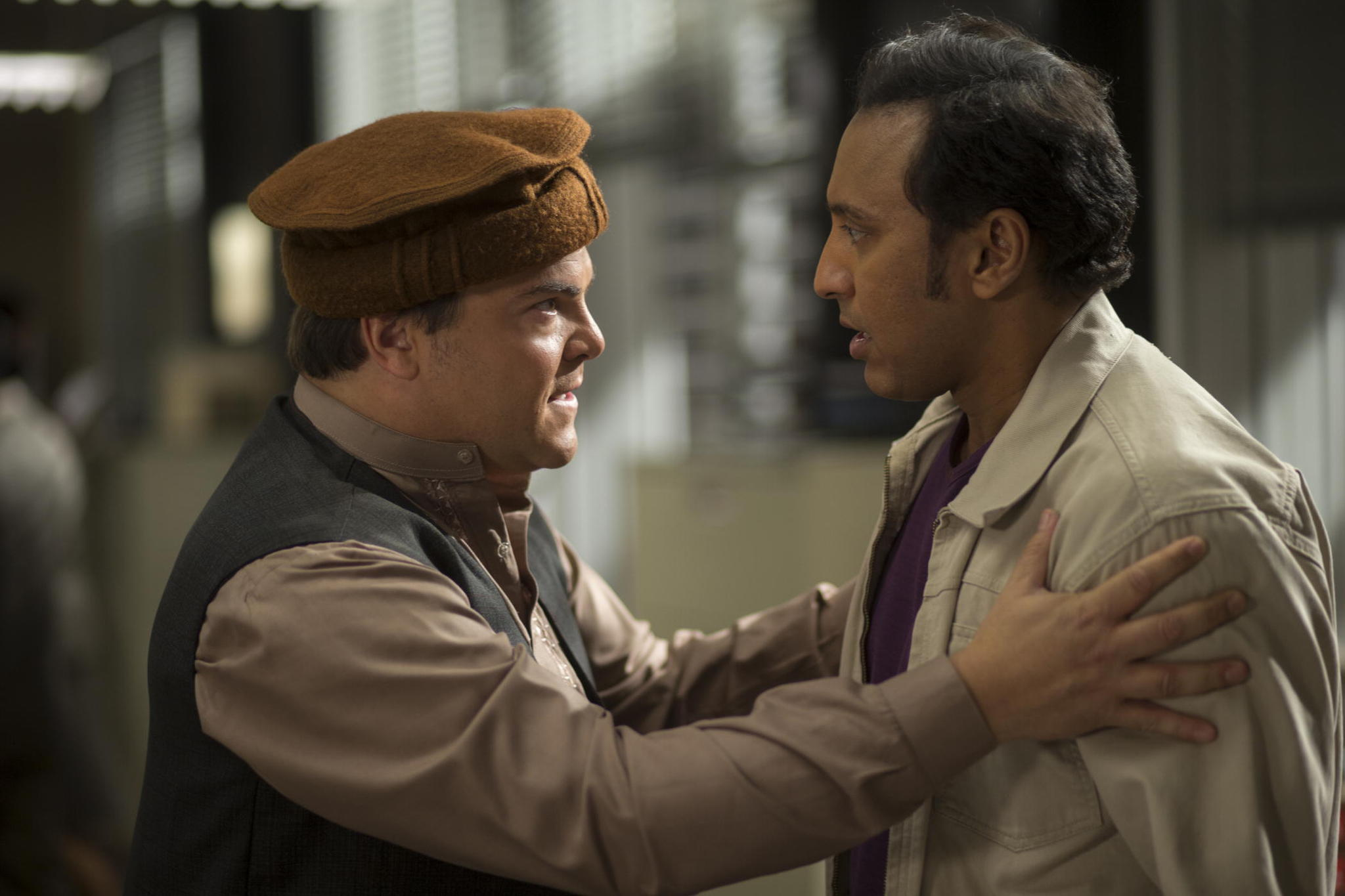 Still of Jack Black and Aasif Mandvi in The Brink.