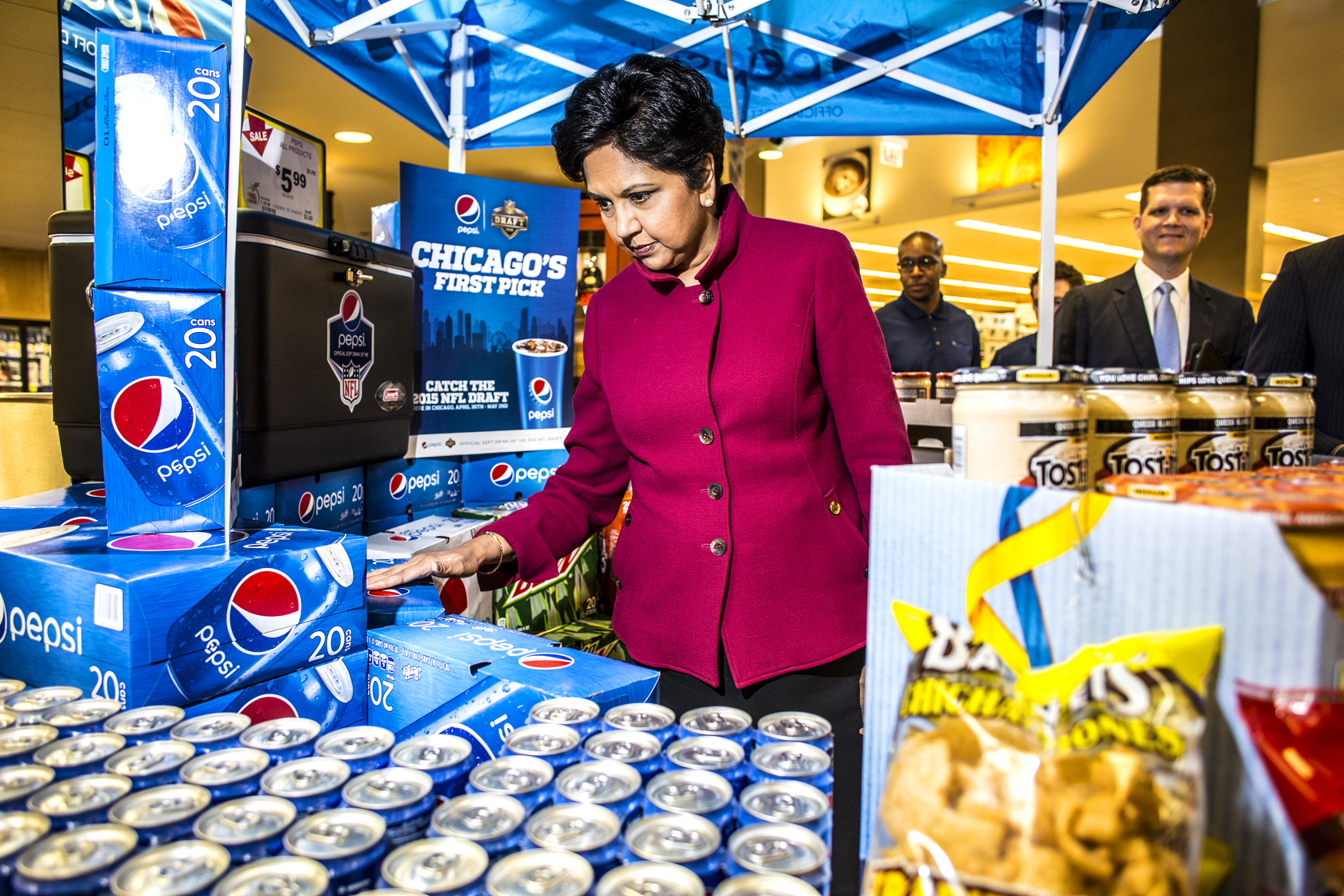 Indra Nooyi CEO of Pepsico touring Pete's Fresh Market in Chicago. April 2015