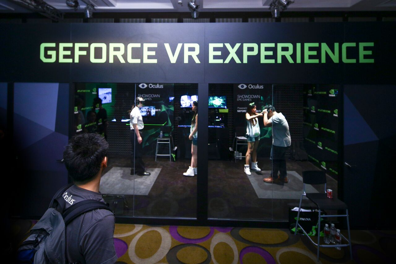 At Computec, attendees checked out virtual reality at the Nvidia GeForce VR Experience