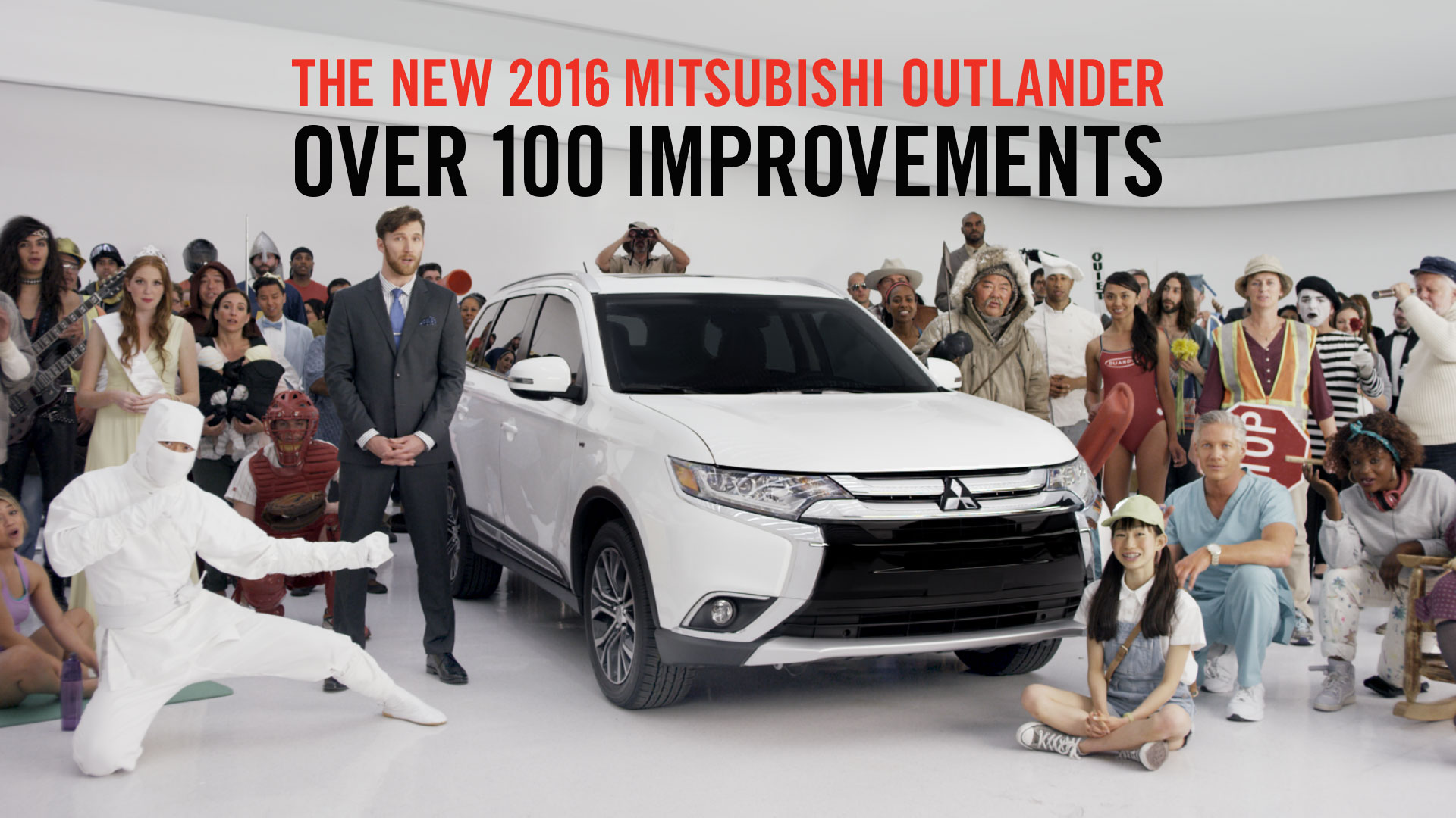 """Mitsubishi's """"100 Spokespeople"""" ad was an attempt to puncture consumer indifference."""