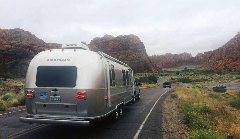 Setting off in an Airstream2Go rental in Snow Canyon State Park, Utah