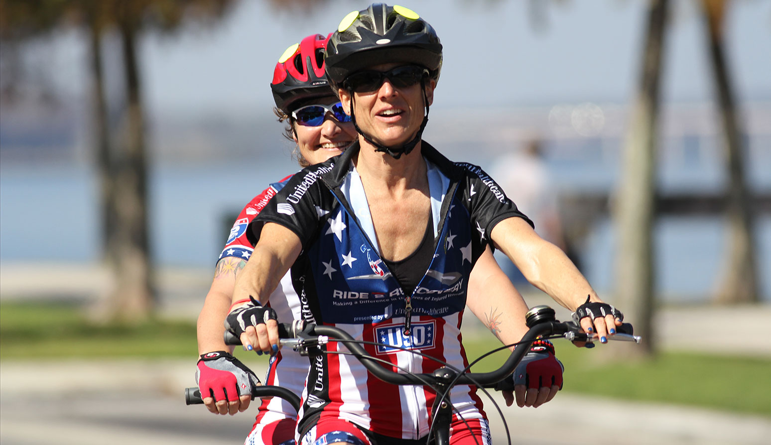 Kelly McDonald, front, rode tandem with Kathy Champion, back, at the Seminole Cyclefest in 2012.