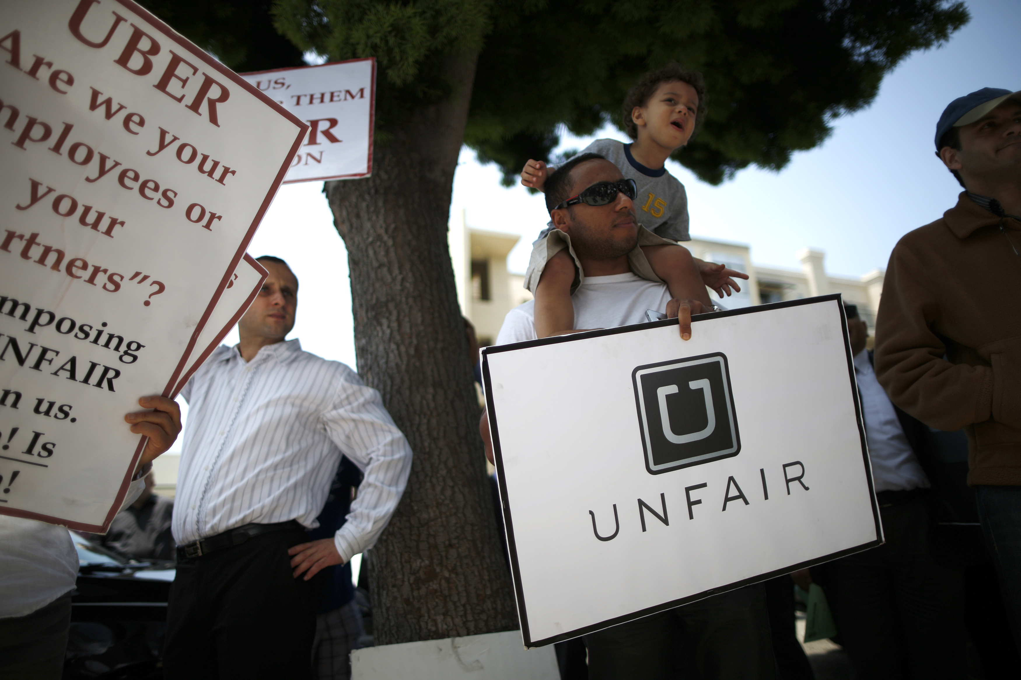 Uber driver Levin protests with other drivers against working conditions, in Santa Monica