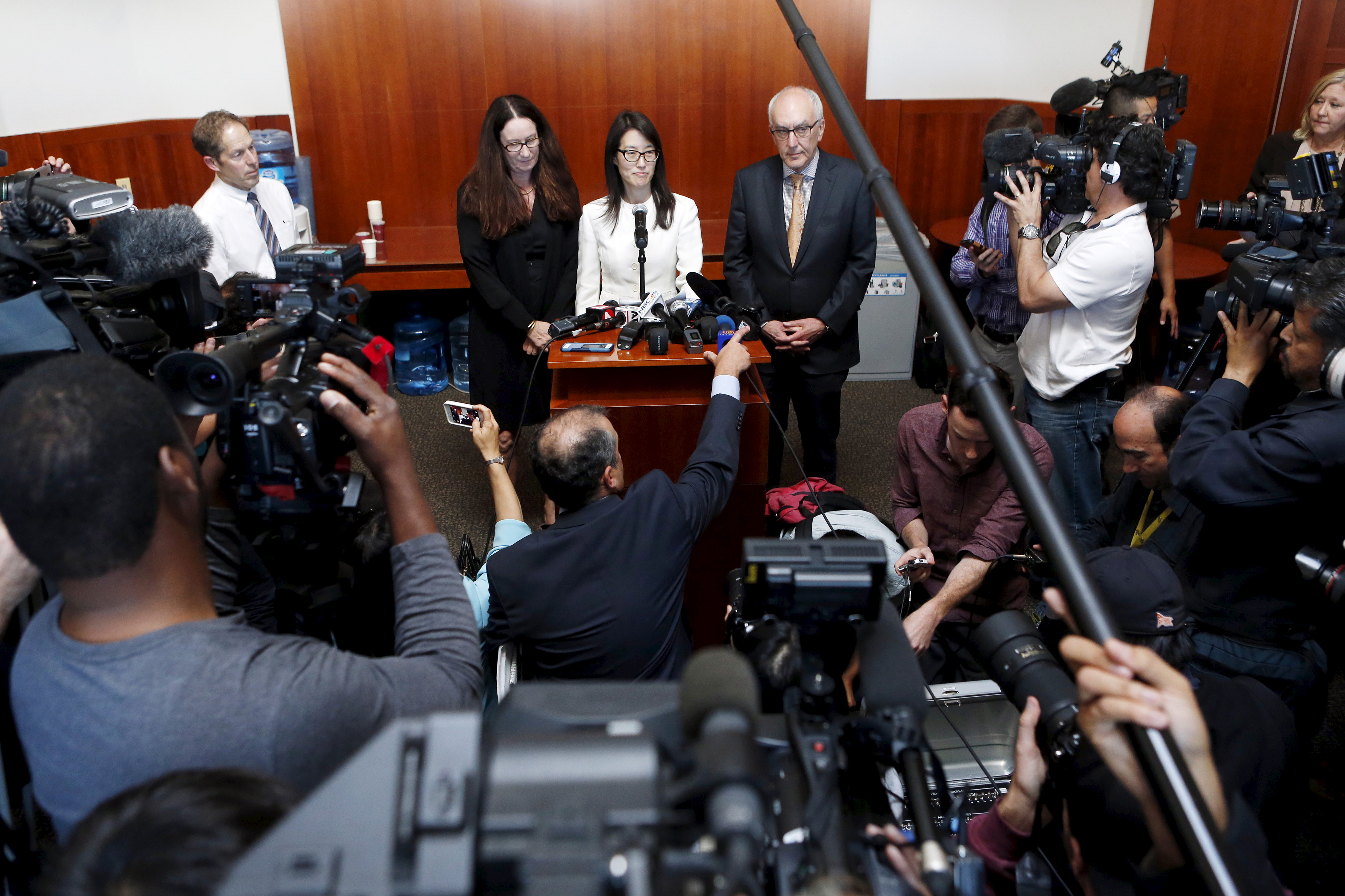 Ellen Pao speaks to the media after losing in her high profile gender discrimination lawsuit against venture capital firm Kleiner, Perkins, Caufield and Byers in San Francisco