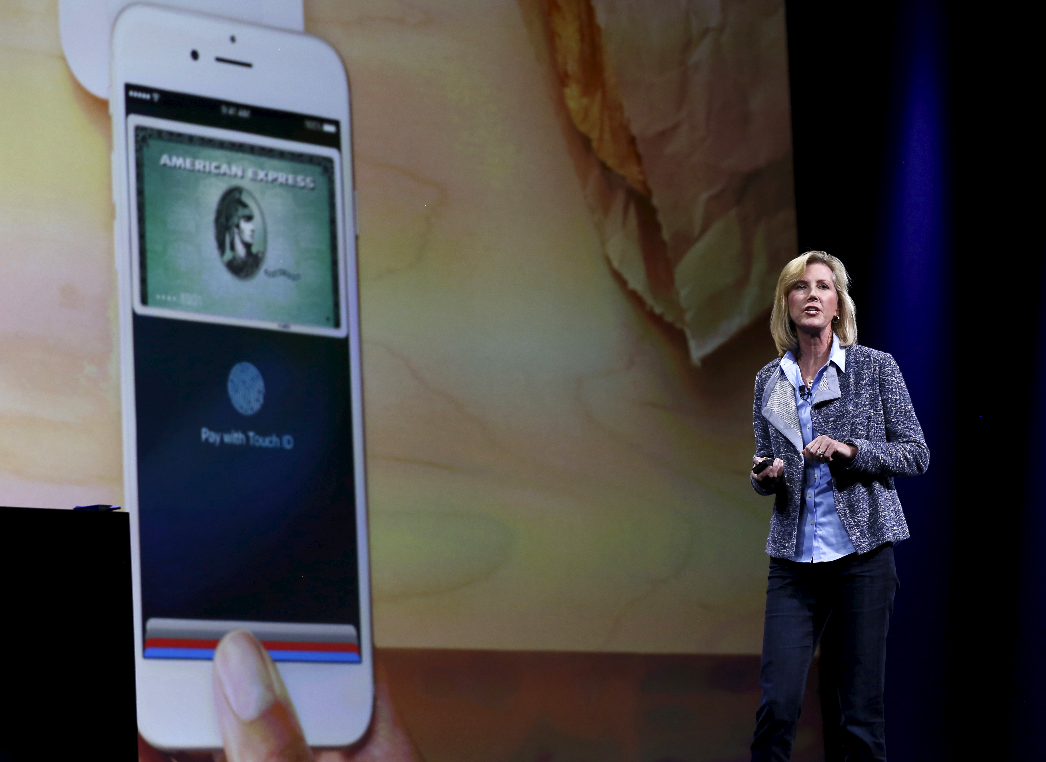 Apple Pay vice president Jennifer Bailey speaks at the Worldwide Developers Conference in San Francisco