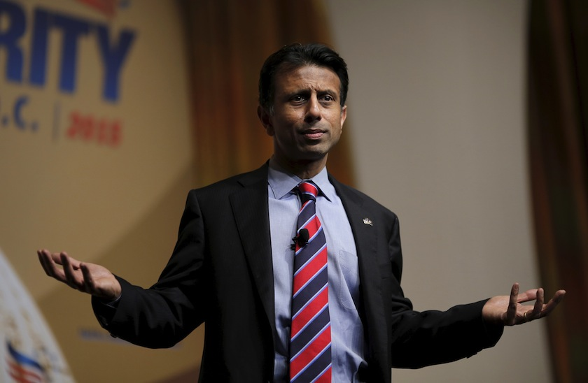 """Louisiana Governor and potential Republican presidential candidate Bobby Jindal addresses a legislative luncheon held as part of the """"Road to Majority"""" conference in Washington"""